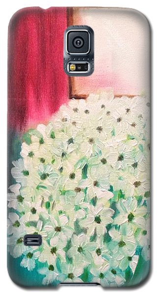 Galaxy S5 Case featuring the painting White Flowers by Brindha Naveen