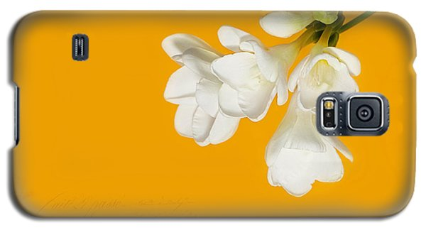 Galaxy S5 Case featuring the photograph White Flowers On Tangerine Study by Lisa Knechtel