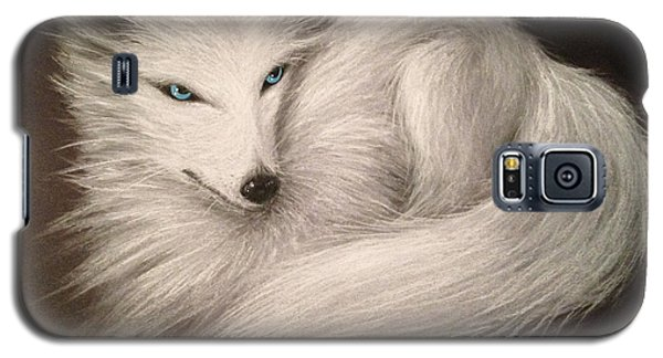 Galaxy S5 Case featuring the drawing White Fox by Patricia Lintner