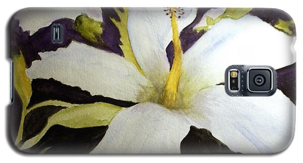 White Hibiscus Galaxy S5 Case by Carol Grimes