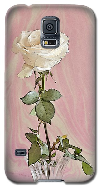 Galaxy S5 Case featuring the photograph White Long Stemmed Rose by Sandra Foster