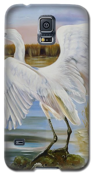 White Morph Reddish Egret At Creole Gap Galaxy S5 Case