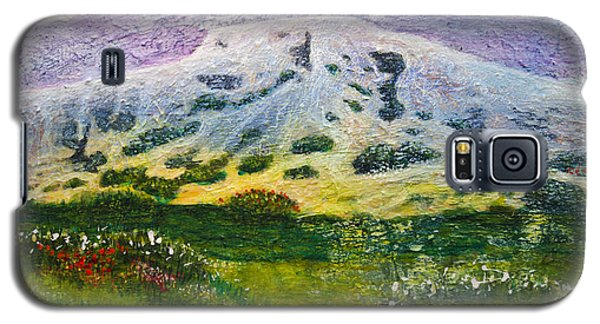 Galaxy S5 Case featuring the painting White Mountain Stana Fe by Ron Richard Baviello