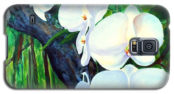 Galaxy S5 Case featuring the painting White Orchid's by Nancy Czejkowski