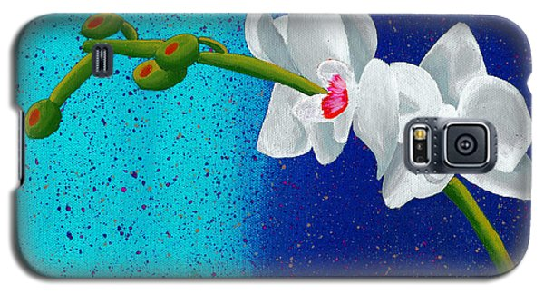 Galaxy S5 Case featuring the painting White Orchids On Blue by Laura Forde