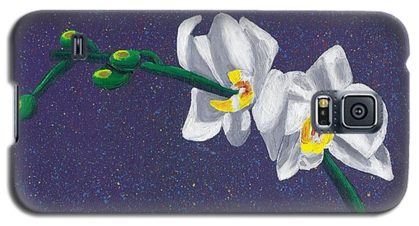 Galaxy S5 Case featuring the painting White Orchids On Dark Blue by Laura Forde