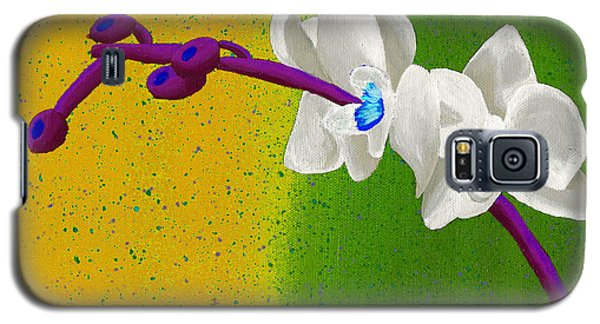 Galaxy S5 Case featuring the painting White Orchids On Yellow And Green by Laura Forde