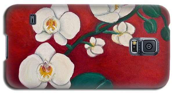 Galaxy S5 Case featuring the painting White Orchids by Victoria Lakes