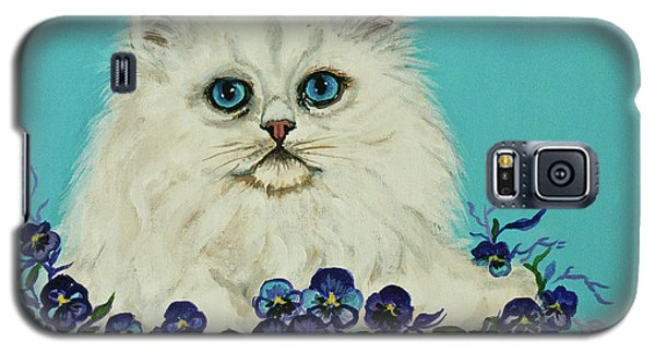 Galaxy S5 Case featuring the painting White Persian In Pansy Patch Original Forsale by Bob and Nadine Johnston