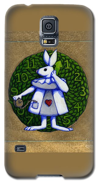 Galaxy S5 Case featuring the mixed media White Rabbit Wonderland by Donna Huntriss