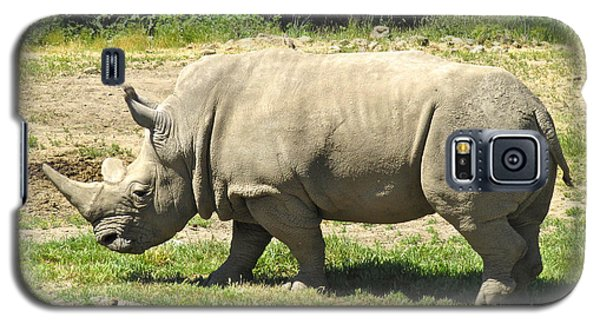 White Rhinoceros Grazing Galaxy S5 Case by CML Brown