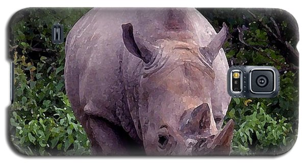 White Rhinoceros Water Coloring Galaxy S5 Case