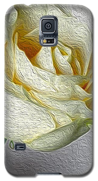 Galaxy S5 Case featuring the photograph White Rose In Oil Effect by Nina Silver