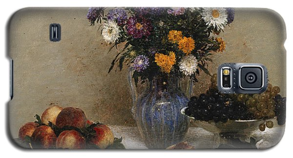 White Roses And Chrysanthemums Galaxy S5 Case by Ignace Henri Jean Fantin-Latour