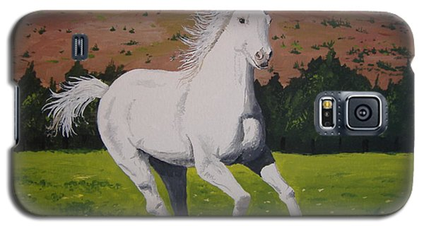 Galaxy S5 Case featuring the painting White Stallion by Norm Starks