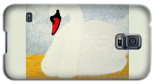 Galaxy S5 Case featuring the painting White Swan Lake by Richard W Linford