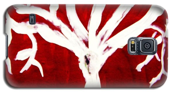 Galaxy S5 Case featuring the painting White Tree On Red by Mary Carol Williams