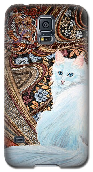 Galaxy S5 Case featuring the painting White Turkish Angora by Leena Pekkalainen
