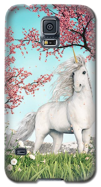 White Unicorn Amongst Cherry Trees Galaxy S5 Case