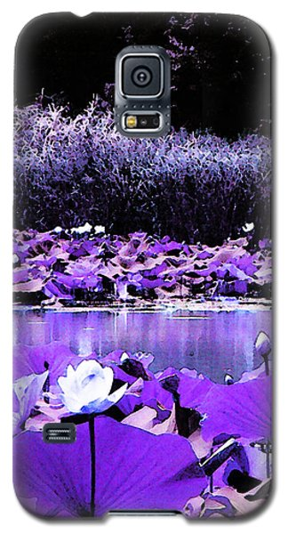 Galaxy S5 Case featuring the photograph White Water Lotus In Violet by Shawna Rowe