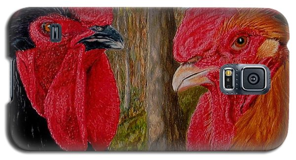 Galaxy S5 Case featuring the painting Who You Calling Chicken by Karen Ilari