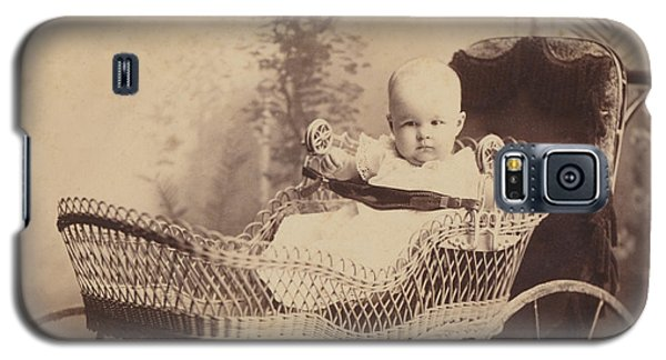Galaxy S5 Case featuring the photograph Wicker Baby Pram by Paul Ashby Antique Image