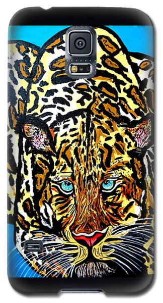 Galaxy S5 Case featuring the painting Wild Cat by Nora Shepley