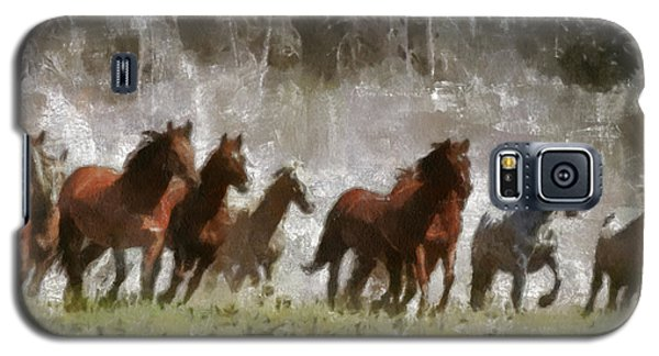 Galaxy S5 Case featuring the painting Wild Horses by Georgi Dimitrov