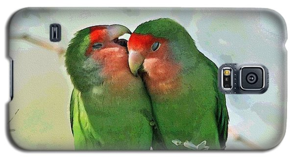 Galaxy S5 Case featuring the photograph Wild Peach Face Love Bird Whispers by Tom Janca