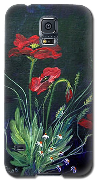 Galaxy S5 Case featuring the painting Wild Poppies Bouquet by Dorothy Maier