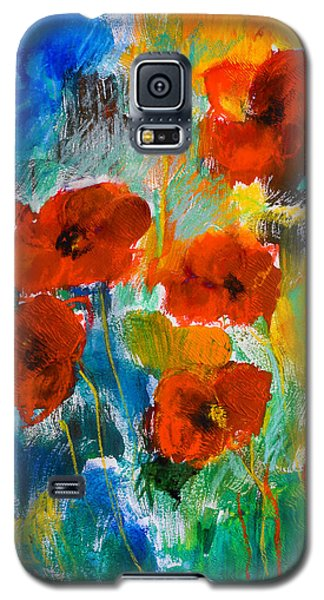 Galaxy S5 Case featuring the painting Wild Poppies by Elise Palmigiani