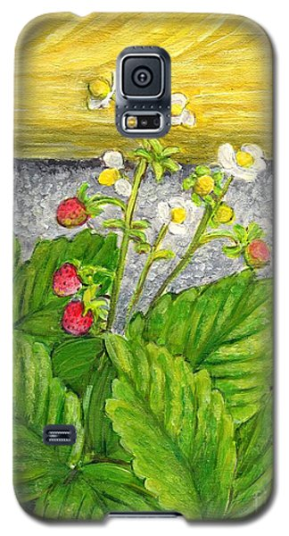 Galaxy S5 Case featuring the painting Wild Strawberries In Summer by Jingfen Hwu