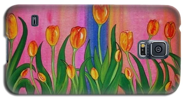 Galaxy S5 Case featuring the painting Wild Tulips by Cindy Micklos