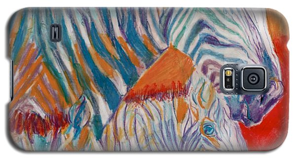 Galaxy S5 Case featuring the mixed media Wild Zebra Colors by Mary Armstrong