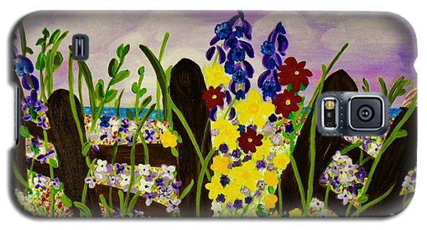Galaxy S5 Case featuring the painting Wildflowers By The Sea by Celeste Manning