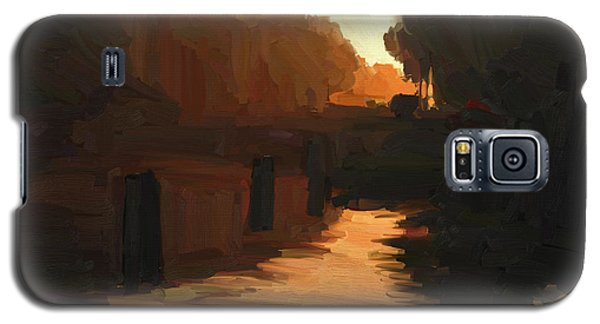 Galaxy S5 Case featuring the painting Wilhelmina Canal In Autumn Morning Light by Nop Briex