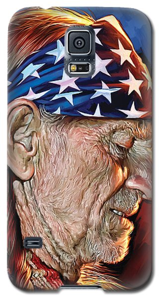 Galaxy S5 Case featuring the painting Willie Nelson Artwork by Sheraz A