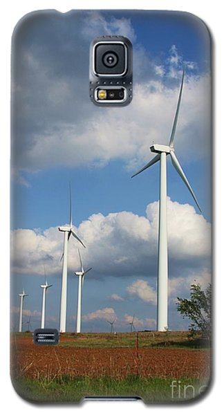 Galaxy S5 Case featuring the photograph Wind Farm And Red Dirt by Jim McCain