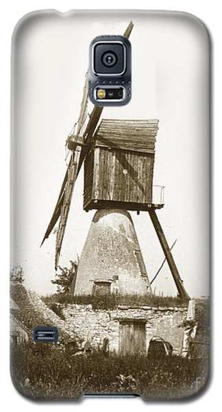 Galaxy S5 Case featuring the photograph Wind Mill In France 1900 Historical Photo by California Views Mr Pat Hathaway Archives