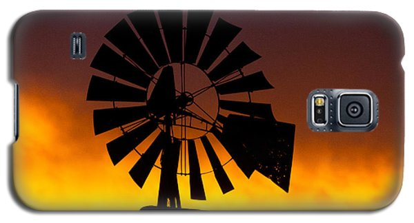 Galaxy S5 Case featuring the photograph Windmill Ablaze by Shirley Heier