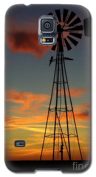 Galaxy S5 Case featuring the photograph Windmill At Sunset 1 by Jim McCain