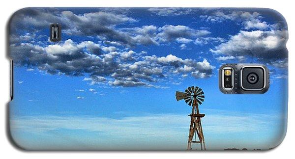 Windmill In Blue Galaxy S5 Case by Steven Reed