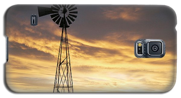 Galaxy S5 Case featuring the photograph Windmill In Soft Blue Sky by Shirley Heier