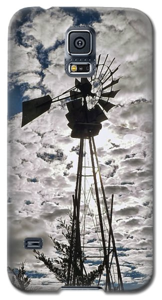 Galaxy S5 Case featuring the digital art Windmill In The Clouds by Cathy Anderson