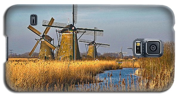 Windmills And Reeds Near Kinderdijk Galaxy S5 Case by Frans Blok