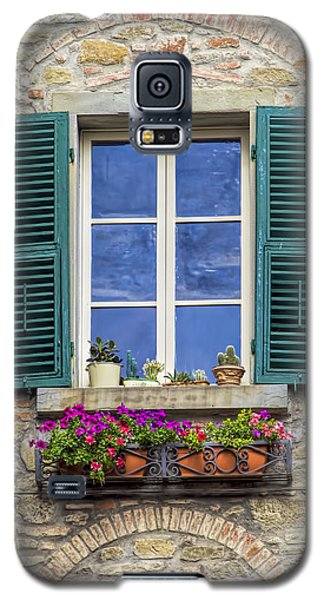 Window Of Tuscany With Green Wood Shutters Galaxy S5 Case
