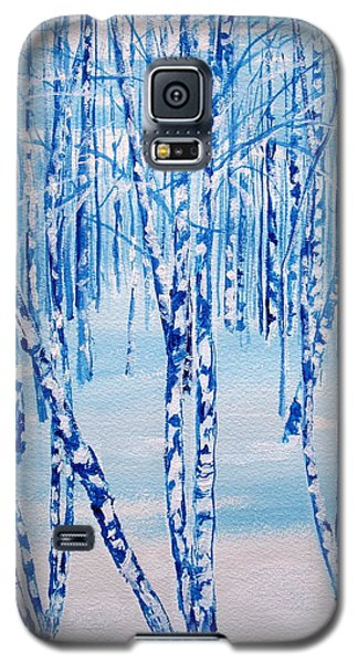 Galaxy S5 Case featuring the painting Winter Birch by Ellen Canfield