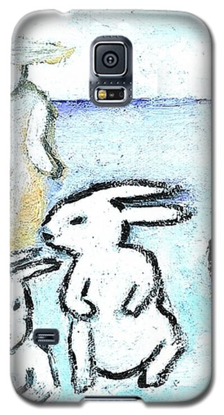 Galaxy S5 Case featuring the painting Winter Bunnies by Michael Dohnalek