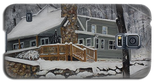 Galaxy S5 Case featuring the painting Winter - Cabin - In The Woods by Jan Dappen