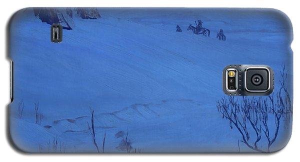 Galaxy S5 Case featuring the painting Winter Camp In Blue by Anastasia Savage Ealy